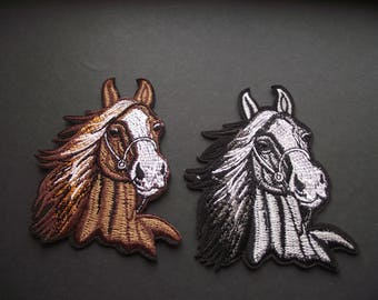 HORSE HEAD PATCH,Horse Applique,Sewing Notion,Patches and Appliques,Equine,Mare,Stallion,Iron On, Sew On Patch,Embroidered Patch Applique