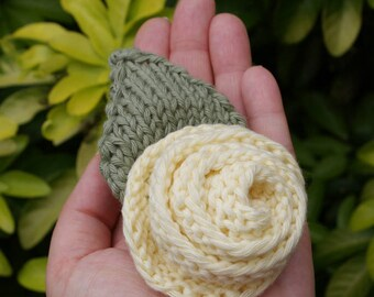 Rose Brooch - Flower Brooch - Friendship Rose - Knitted - Yellow - Yellow Flower - Corsage - Hand Knitted - 100% Cotton - Rose - Green Leaf