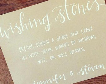 Custom Hand Lettered Wedding Sign | Wishing Stones Guest Book | Wording of Your Choice