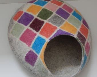 Handmade Felted Wool Cat Cave, Cat House. Made by Feltingstudio in Edinburgh, SCOTLAND