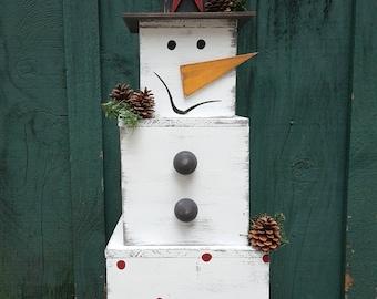 Large Rustic Snowman, Christmas Decor, Block Snowman, Winter Front Porch Decor, Snowman Decor, Distressed Snowman, Winter Decor