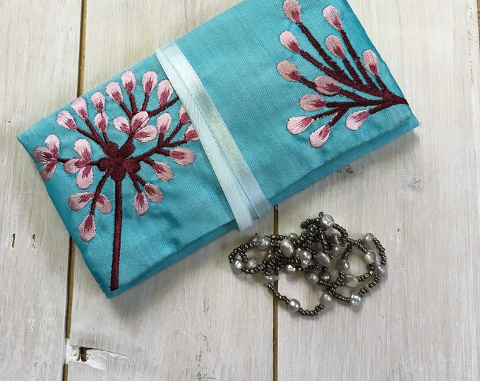 Handmade Silk Jewellery Roll with Embroidery, Fairtrade - turquoise blue