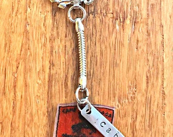 Percy Jackson inspired Camp Half Blood shrinky dink and metal stamped Keychain