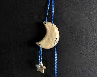 Moon and stars wall hanging / grey blue and silver / nursery kids room / night sky decor / clay