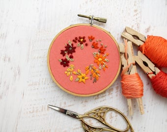 Bright Ombre Gradient Floral Bouquet Wreath Embroidery Hoop Art - Pink Coral Orange Summer Fall Autumn Flowers - Mint Cotton - 3 Inch Hoop