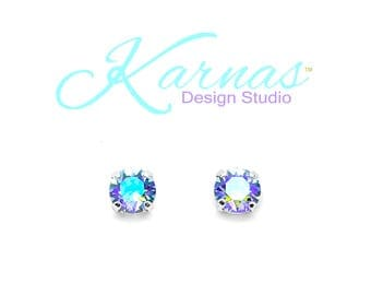 SAPPHIRE GLACIER BLUE 8mm Earrings Made With Swarovski Crystal *Choose Finish & Style *Karnas Design Studio™ *Free Shipping