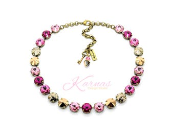 MOSAIC PINK 12mm Necklace Made With Swarovski Crystal *Choose Finish & Size *Karnas Design Studio™ *Free Shipping*