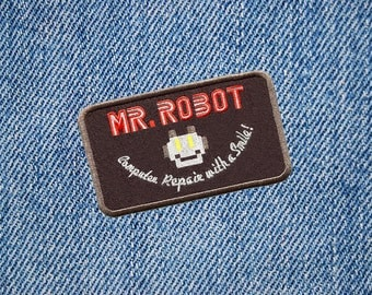 Something Different Awesome Large Black Mr. Robot Patch 10cm fsociety Badge for Shirt Hat Cap Jacket Great for Halloween Costume!