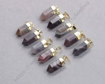 18mm Point Bostwana Agate Pendants -- With Electroplated Gold Edge Gemstone Charms Wholesale Supplies YHA-337
