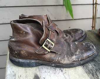 9 Distressed harness ankle boots brown leather