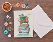 Biglietto d'auguri personalizzato, illustrazione su misura, auguri personalizzati, disegno originale, regalo di natale