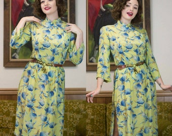 1940s Cheongsam | Chartreuse | 40s Silk Dress | 40s Dress | 1940s Dress | Long Sleeve Cheongsam | 40s Floral Dress | High Collar |