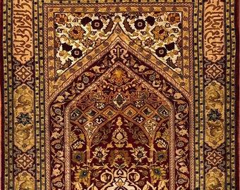 "Very fine Turkish Hereke rug %100 Silk & Gold threads 2'1""x2'9'' ~ 676 KPSI"