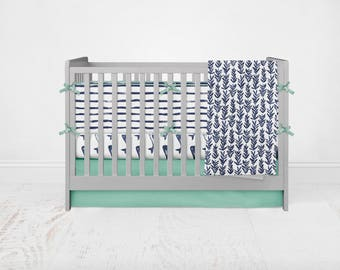 Under the Sea Bedding Set. Baby Bedding. Whale Bedding. 4 Piece Set - Fitted Crib Sheet, Crib Skirt, Bumpers, Baby Blanket.