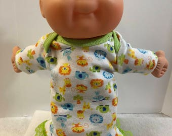 "Cabbage Patch NEWBORN 12 inch Doll Clothes, Adorable ""ZOO ANIMALS"" Nightgown, 12 inch Newborn Doll Clothes Nightgown,Lions-Elephants-Giraffe"