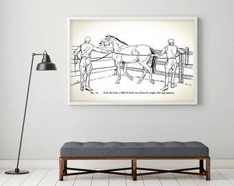 Horse Decor - Horse Art - Vintage Horse Print - Retro Horse Poster Print // Equestrian Gifts - Equestrian Decor - Equestrian Gifts