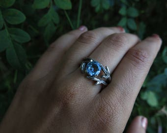 Mystic Forest Blue Topaz Sterling Silver Ring