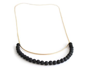 Statement Stone Necklace, Black Stone Necklace, Silver Stone Necklace, Bib Necklace, Large Necklace, Black Long Necklace, Gift For Her.