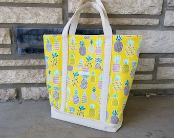 Pineapple Fabric & Canvas Tote Bag, Canvas Bag, Reusable Grocery Bag, Shoulder Bag, Beach Bag