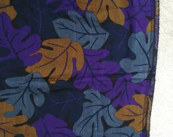 "Gorgeous Italian Soft Wool Fabric - Black Purple Blue Bronze Leaf Design - Scarf Shawl Fashion Home Decor Crafting - 70""x 35""/ 140 x 89cm"