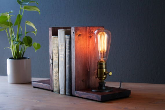 Edison Bookend Lamp - Vintage Lamp - Table Lamp - Edison Light - Unique Lamp - Brass lamp - Bedside Lamp - Rustic Lighting - Loft Lighting