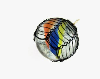 Large cat's eye marble pendant, Glass sphere necklace, Glass marble jewelry, Large orb, Wire wrapped, Viking weave, Retro, Nerd, Hipster