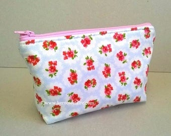 Cosmetic bag in pale blue with pink flowers, blue make up bag, pretty make up storage, make up pouch, cosmetic case, floral make up storage