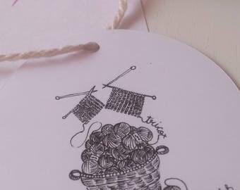 Set of 3 tags knitting illustration / 3 knitting illustration labels - tags