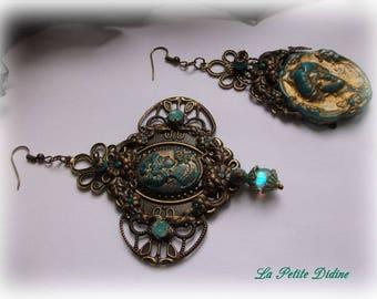 Art Nouveau jewelery, Art Nouveau earrings, golden and gray green, cameos, Vintage,Unpierced ears,Lalique,lalique jewelry,Mucha,Antique gold
