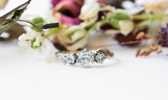 Aquamarine three stone leaf engagement ring, 14k gold leaf engagement ring, aquamarine twig engagement, gold twig promise ring