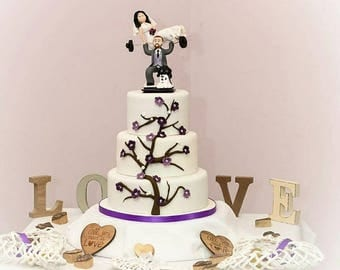 Wedding Cake Topper Weight Lifting Wedding Cake Topper Handmade Personalised Wedding Topper Cake Topper Bride and Groom Topper Pets Topper