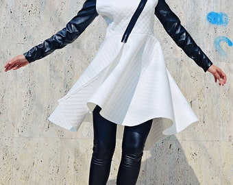 Extravagant White Jacket, White Neoprene Jacket with Faux Leather Sleeves, Flared White Jacket TC94 by TEYXO