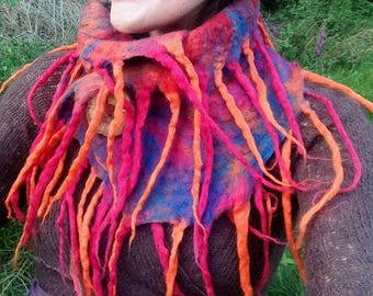 The 'Fireys Dance' Psychedelic Felted Scarf of Dread Tassels, Magical Rainbow Pixie Cowl, Hippie Boho Festival Wear OOAK