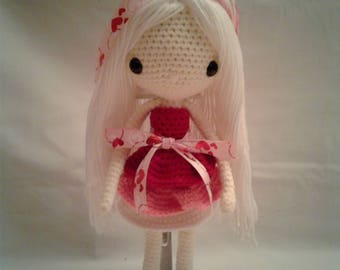 BIANCA Crochet Amigurumi Doll - Crochet Girl Doll - Valentine Girl