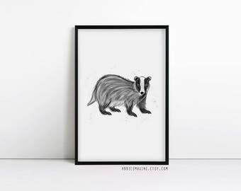 Badger Print - Badger Gift - Woodland Nursery Art - Badger Illustration - Nursery Wall Art