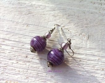 Earrings glass purple and violet CHIC
