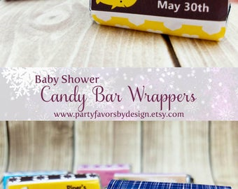 Custom Baby Shower Gifts for Guests | Baby Shower Thank You Gifts | Baby Shower Souvenirs | 18 PRINTED Candy Bar Wrappers