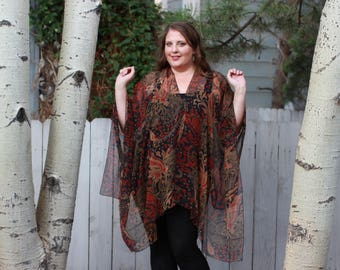 Black, Red, and Brown Paisley Shawl Top - Silk