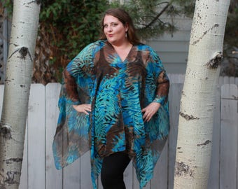 Teal Zebra Animal Print Shawl Top - Silk