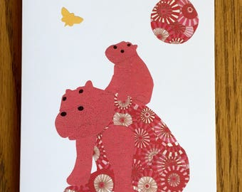 Hippo Card, Mother and Baby Hippos, African card, cut paper art, baby greeting card, nursery, kids card, baby hippo