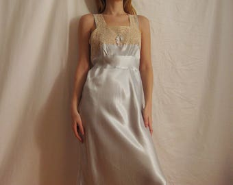 30s Satin and Lace Slip Dress XS S