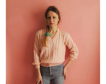 80s Italian Cotton Candy Cableknit Sweater XS S M