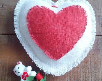 Ivory Valentine Pillow - Valentine Heart Pillow - Valentine Cushion - Valentine's Day Gift - Burlap Heart Pillow  - Decorative Pillow