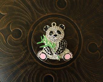Panda Bear Rhinestone Pendant for Chunky Bubblegum Necklaces