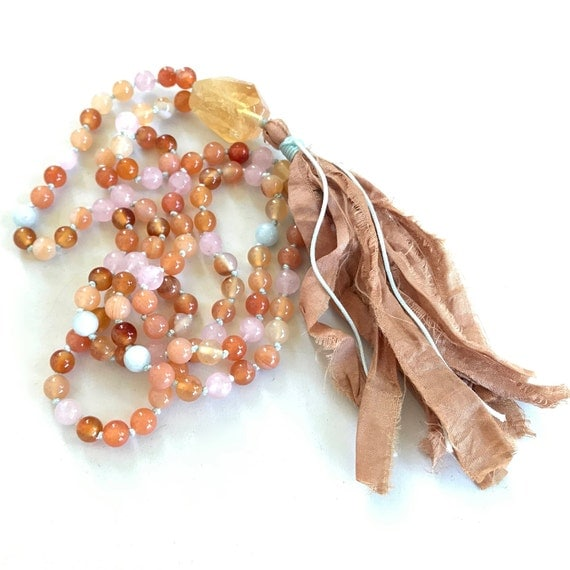 Mala Beads To Boost Energy, Citrine Mala Necklace, Aquamarine, Sunstone and Rose Quartz Mala, 108 Beads Hand Knotted Mala Necklace,