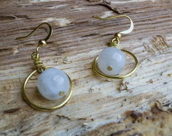 Gold loop earring set with Eclipse Charged Moonstone