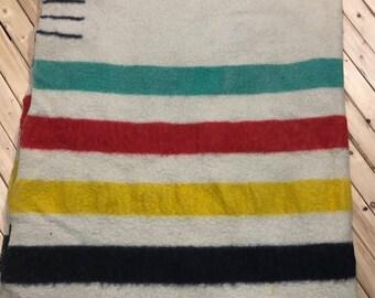 1950s Hudson Bay Company 4 Point Blanket Stripe Blanket Queen Size