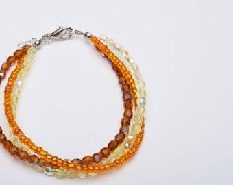 Autumn Foliage Three Strand Glass Bead Bracelet