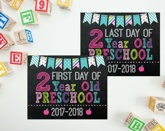 First Day of 2 Year Old Preschool Sign - Girls Back to School - Last Day of School - First Day Back To School - 2 Year Old School Printable