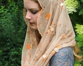 Evintage Veils~ Champagne Taupe Multiflora Beaded Embroidered Lace Chapel Veil Mantilla Infinity Veil Latin Mass